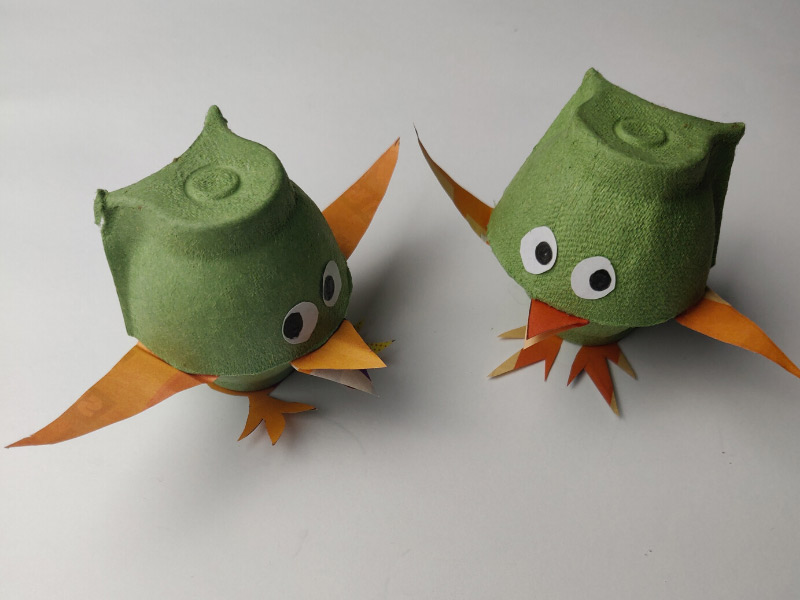 petits oiseaux en carton pâques boites à oeufs