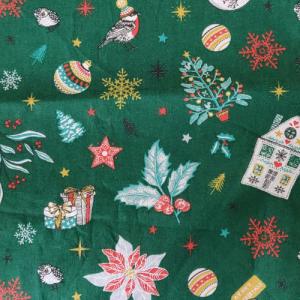 Tissu Noël vert